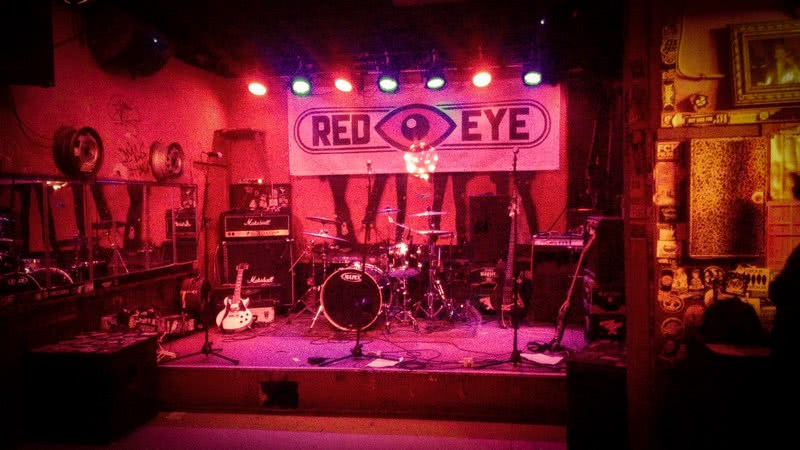 Die Bühne vor dem Auftritt von Red Eye im Sonic Ballroom
